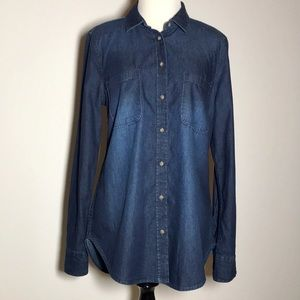 Merona Long-Sleeved Chambray Top, Size M, NWT